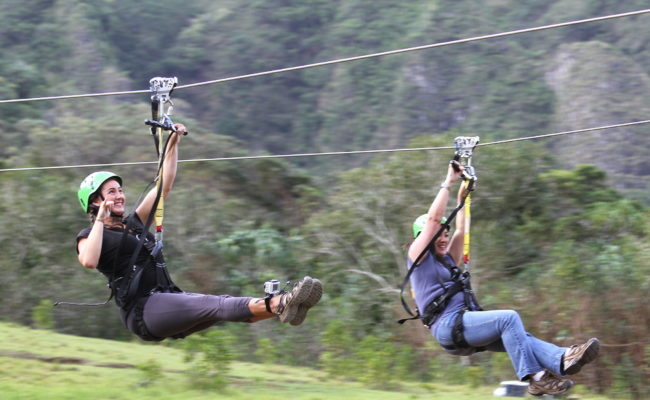 Two females on zipline
